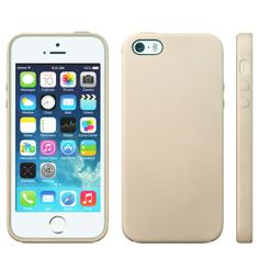iPhone 5, 5s TPU leather pattern surface Cover, hoesje, case beige