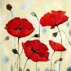 Oil - Acrylic painting Red poppies Flower Impasto Painting - mixed media - Huge 37 x 37 - XXL - Certificated - Art For Christmas ($195) found on Polyvore