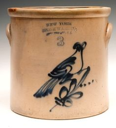 New York Stoneware Co, Fort Edward, NY, 3-gal stoneware crock with  cobalt blue bird decoration