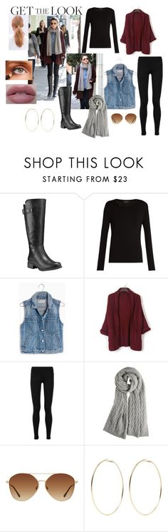 """""""WINTER STYLE: GET THE LOOK CONTEST"""" by aquacie ❤ liked on Polyvore featuring Timberland, Weekend Max Mara, Madewell, WithChic, Vince, Calypso St. Barth, MANGO, Kenneth Jay Lane, GetTheLook and winterstyle"""