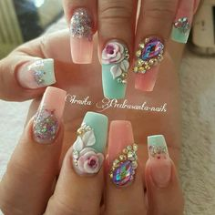 Polygel Nails, Gem Nails, Cute Nails, Pretty Nails, Hair And Nails, Work Nails, Acrylic Nails, Fabulous Nails, Gorgeous Nails