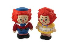 Raggedy Ann and Andy Ceramic Figurines Vintage by tenpennygray