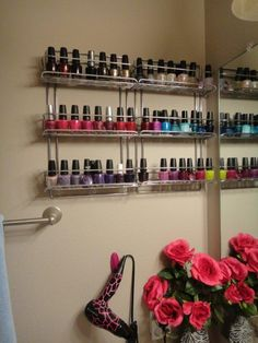 I love all things nail polish, but didn't want to have my toddler rummaging through my basket/bin of polish. I decided it was time to find my own spice racks to use for my nail polish rack. Love the organization, and it's so easy to see my polish!