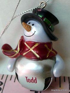 #TODD Jingle Bell Mini Snowman Personalized Name Ornament