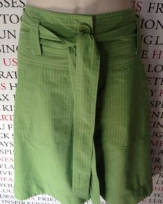 CUE Ladies Green Pinstriped Skirt With Belt SIZE 10 PRE LOVED