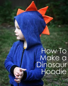 How to Make a Dinosaur Hoodie tutorial and free scale pattern pieces