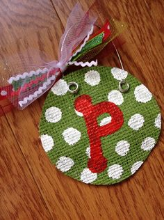 Personalized Painted Burlap Ornament | Jane