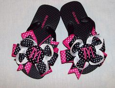 Minnie Mouse Black and Hot Pink Polka Dot Ribbon Monogram Initial Buttons Decorated Flip Flops on Etsy, $19.99