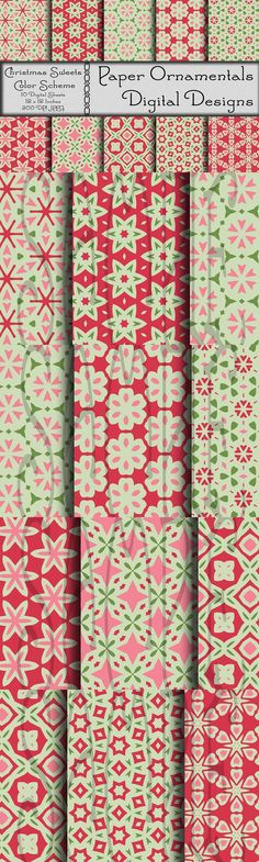 Christmas Digital Paper. Christmas Patterns. $5.00