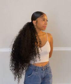 Slick Hairstyles, Baddie Hairstyles, Ponytail Hairstyles, Black Women Hairstyles, Weave Hairstyles, School Hairstyles, Hair Ponytail Styles, Sleek Ponytail, Curly Hair Styles