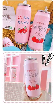 Wouldn't it be perfect to drink your favorite beverage in this adorable strawberry thermos cup? Cute Strawberry, Strawberry Desserts, Vacuum Cup, Cute Stationery, Decorated Water Bottles, Girly, Pouch, Drinks, Kawaii Stuff