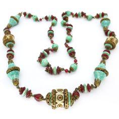 Vintage Czech Art Deco Peking Carnelian Glass Carved Filigree Glass Bead Necklace | Clarice Jewellery | Vintage Jewellery | Vintage Costume Jewellery