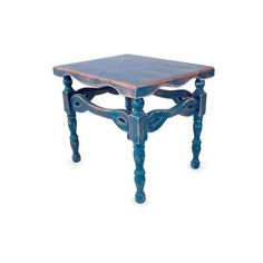NOVICA Wood end table (330 CAD) ❤ liked on Polyvore featuring home, furniture, tables, accent tables, blue, end tables, homedecor, blue accent table, wooden table and blue side table