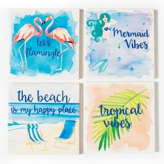Beach Coasters  Bring the beach to you with a set of four ocean-themed coasters. You'll immediately feel the sun on your face, and the sand on your feet when you set an icy glass down on a laidback beach coaster. Perfect for the living room, patio or beach house. Each coaster has a unique beach scene. Made of stone. Size 4\