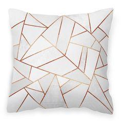 White Stone & Copper Geometric Faux Suede Cushion