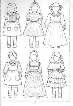 "Links to and pictures of free patterns for 18"" dolls. Some patterns are for other sizes as well. Site also has links to doll measurements."