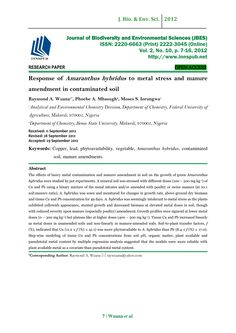 Response of Amaranthus hybridus to metal stress and manure amendment in contaminated soil