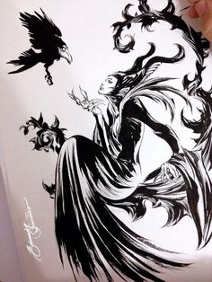 Full Free Watch Maleficent: Mistress Of Evil : Full Length Movie Maleficent And Her Goddaughter Aurora Begin To Question The Complex Family. Disney Love, Disney Magic, Disney Art, Disney Maleficent, Disney Villains, Maleficent Tattoo, Maleficent Drawing, Disney Tattoos, Disney And Dreamworks