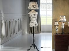 Mannequin Floor Lamp with Paris Fabric..funky and quirky design !