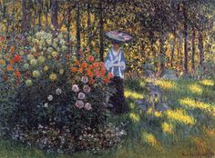 Woman with a Parasol in the Garden in Argenteuil, 1875 by Claude Monet. Impressionism. genre painting