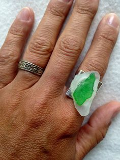 Sea Glass Ring White 7 Green glass from Greece on Silver plated copper adjustable lead free nickel free unique beach glass Jewelry by CraftyleftDee