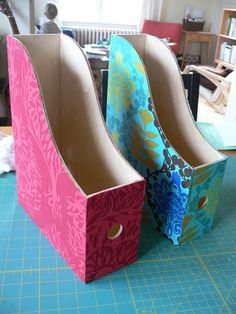Jenny: Fabric-covered File Holders by Stumbles & Stitches, via Flickr
