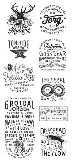 One of my favorite graphic designer when it comes to hand drawn logos! Stunning art by Jorgen Grotdal! Hand Drawn Logo, Hand Drawn Type, Hand Logo, Hand Drawn Typography, Typography Letters, Typography Design, Logo Design, Calligraphy Letters, Design Design