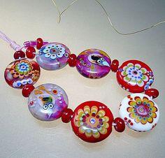 Artist Glass Lampwork Beads Bracelet Size Love by manuelawutschke