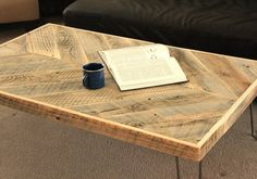 Small Reclaimed Wood Coffee Table, Chevron Pattern Top - Free Shipping