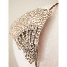 Vintage Art Deco Beaded Rhinestone Fan Side Tiara No.13115