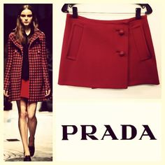 Prada $760 mod/60's wrap red wool micro mini skirt sz.S; RR Price: $225 www.resalerichesnyc.com