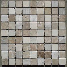 Marmor Mosaik Fliese Grau Braun Beige 30x30x0,8cm; 3x3cm Naturstein Bad  Dusche