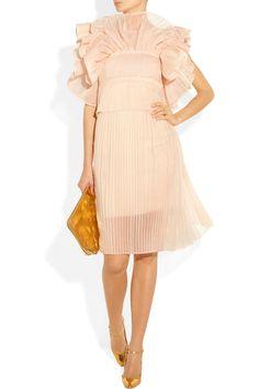 Chloé|Ruffled silk-blend organza dress USD 4635. Non-matching bag a must.
