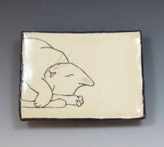 Handbuilt Ceramic Soap Dish with Cat by SuramicsPottery