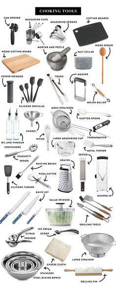Kitchen Utensils List, Kitchen Gadgets, Kitchen Appliances, Kitchens, Kitchen Items List, Baking Appliances, Kitchen Utensil Organization, House Gadgets, Kitchen Cabinets