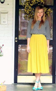 feminine, modest, skirt and top combo, yellow, ...