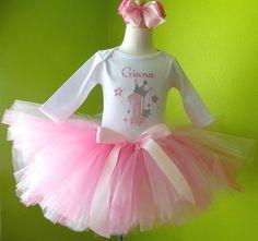 #MC Princess Crown Pink Birthday Tutu Outfit by PoshBabyStore.com