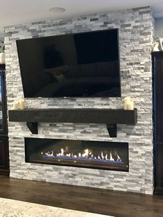 72 inch Gas Linear Fireplace  Stacked Ledgestone 65inch TV  Wood mantle - Fireplaces