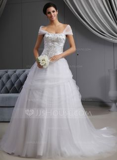 Wedding Dresses - $296.99 - Ball-Gown Off-the-Shoulder Cathedral Train Satin Tulle Wedding Dress With Embroidery Ruffle Beading (002022657) http://jjshouse.com/Ball-Gown-Off-The-Shoulder-Cathedral-Train-Satin-Tulle-Wedding-Dress-With-Embroidery-Ruffle-Beading-002022657-g22657?ver=n1ug2t&ves=k41wn