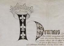 Ratification du Traité de Troyes conclu entre Henri V et Charles VI.  Acte rédigé en latin, daté du 21 mai 1420, à la cathédrale Saint-Pierre de Troyes.  Archives nationales, AE/III/254 © Archives nationales, France