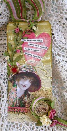 So pretty!  Lady In Pink and Green Tag  By: Martica Designs