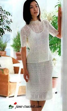 jane-crochet.com – Elegant white crochet suit: blouse and skirt
