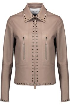 Shop on-sale Studded leather jacket. Browse other discount designer Casual Jackets & more luxury fashion pieces at THE OUTNET Leather Jackets For Sale, Studded Leather Jacket, Discount Designer, Vegan Leather, Valentino, Luxury Fashion, Blouse, Casual, Neutral