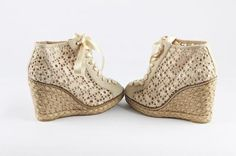 how ADORABLE are these?!  #StuartWeitzman Cream/Beige Lace Up Peep Toe Espadrilles Wedges