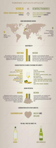 Verdejo vs. Gewürztraminer: Infographic by 'Club Torres' #wine101 #infographic