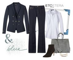 Harbor navy blazer, Runway bootcut jean, Swan white blouse - Etcetera Fall Collection