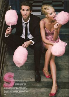 Cute engagement photoshoot idea or boy/girl announcement with blue and pink cotton candy