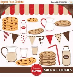 70% OFF SALE Milk and cookies clipart, cookies and milk clipart, cookies and milk party, cookies clipart, commercial use - CA165 by PremiumClipart on Etsy