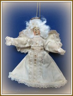The Best Free Crafts Articles: Angelic Marion - Free Primitive Angel Ornament E-Pattern by Linda Walsh of Linda Walsh Originals