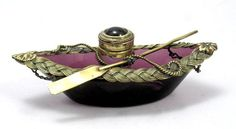Amethyst Glass Boat Inkwell with Dore Bronze Rope Work, Oar and Ink Pot - France - 19th Century